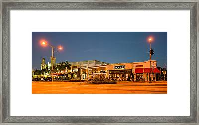 Night Scene Of Downtown Culver City Framed Print by Panoramic Images