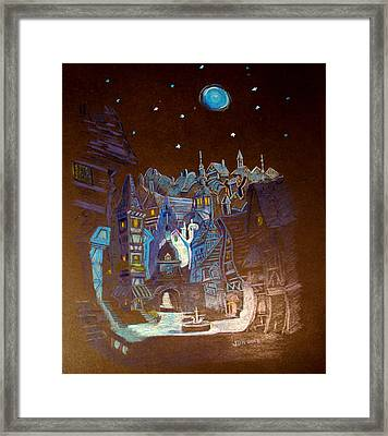 Framed Print featuring the drawing Night Scene Tangled Town by Joseph Hawkins
