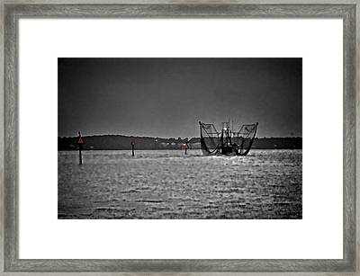 Night Shrimping In Bw And Color Framed Print by Michael Thomas