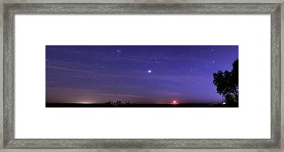 Night Sky And Setting Moon Framed Print