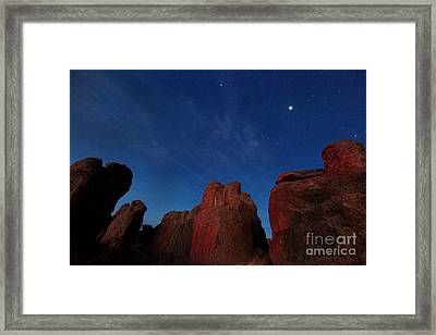 Framed Print featuring the photograph Night Sky City Of Rocks by Martin Konopacki