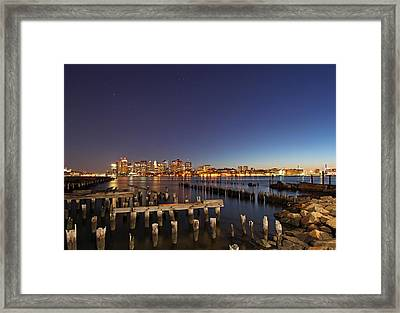 Night Sky Hunter Orion Over Boston  Framed Print by Juergen Roth