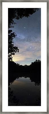 Night Sky Over A Lake Framed Print
