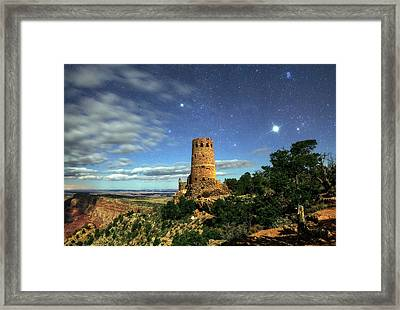 Night Sky Over Grand Canyon Watchtower Framed Print by Babak Tafreshi