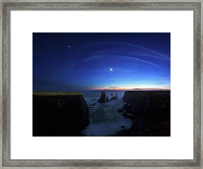 Night Sky Over Port Coton Needles Framed Print by Laurent Laveder