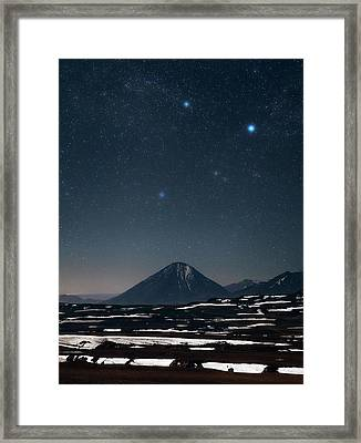 Night Sky Over The Licancabur Volcano Framed Print by Babak Tafreshi