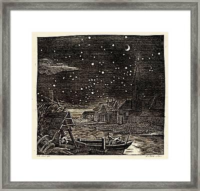 Night Sky Over Village Framed Print by Detlev Van Ravenswaay