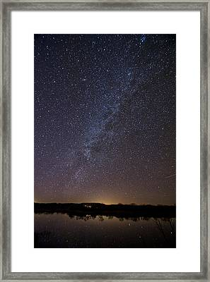 Night Sky Reflected In Lake Framed Print