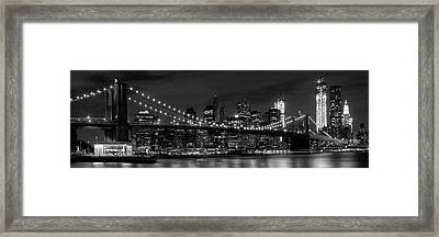 Night-skyline New York City Bw Framed Print by Melanie Viola