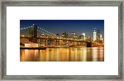 Night-skyline New York City Framed Print by Melanie Viola