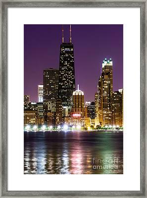 Night Skyline Of Chicago Framed Print by Paul Velgos