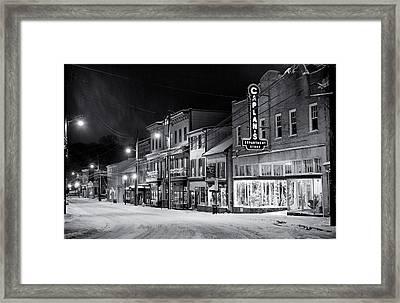 Night Snow Ellicott City Maryland Framed Print