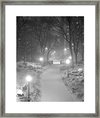Framed Print featuring the photograph Night Storm New York by Dave Beckerman