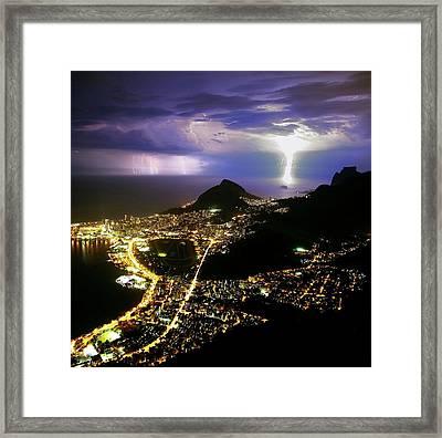 Night Storm Off Rio De Janeiro Framed Print