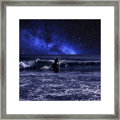 Night Surfing Framed Print by Laura Fasulo