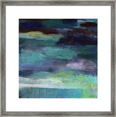Night Swim- Abstract Art Framed Print by Linda Woods