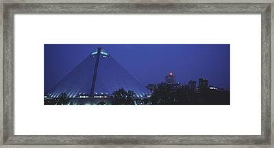 Night The Pyramid And Skyline Memphis Framed Print by Panoramic Images
