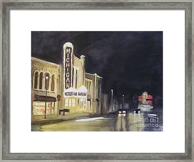 Night Time At Michigan Theater - Ann Arbor Mi Framed Print