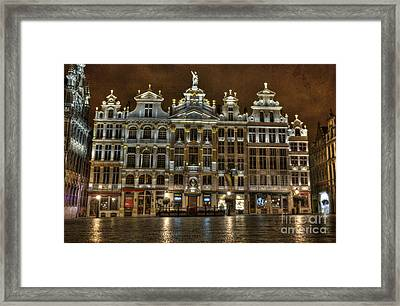 Night Time In Grand Place Framed Print