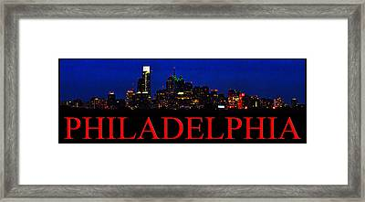 Night Time In Philadelphia Cityscape Framed Print by Bill Cannon