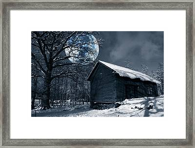 Night Time Landscape During Winter And Snow Framed Print