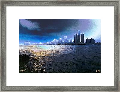 Night Time On The Detroit River Framed Print