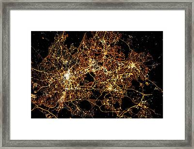 Night Time Satellite Image Of A City Framed Print