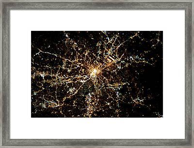 Night Time Satellite Image Of Atlanta Framed Print