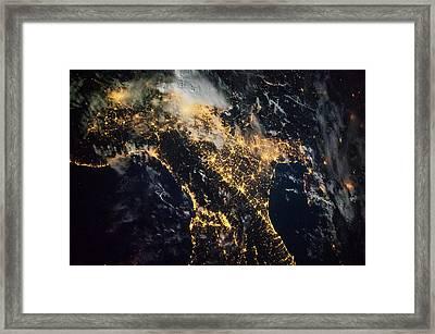 Night Time Satellite Image Of Genoa Framed Print
