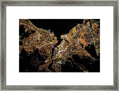 Night Time Satellite Image Of Istanbul Framed Print