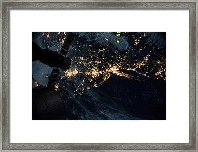 Night Time Satellite Image Of New York Framed Print