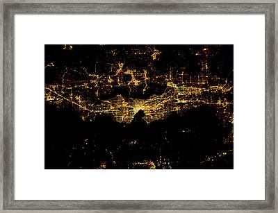 Night Time Satellite Image Of Seattle Framed Print