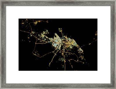 Night Time Satellite View Of Dammam Framed Print