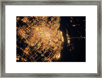Night Time Satellite View Of Shanghai Framed Print