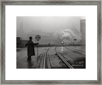 Night Train Thru Fog Framed Print