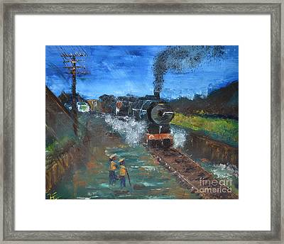 Framed Print featuring the painting Night Train by Denise Tomasura