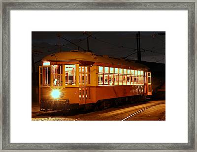 Framed Print featuring the photograph Night Trolley by Jim Poulos