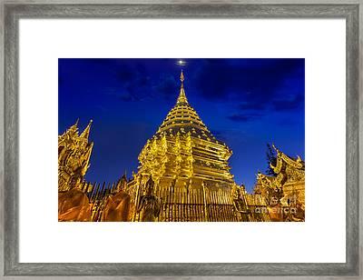 Night View Doi Suthep  Framed Print by Anek Suwannaphoom