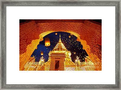 Night View Doi Suthep Chiang Mai Thailand Framed Print by Phaitoon Sutunyawatcahi