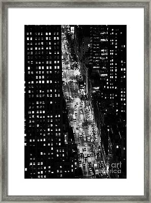 Night View Down Towards Fifth 5th Avenue Ave At Night New York City Framed Print by Joe Fox