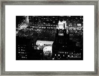Night View Of Bryant Park Ice Skating Rink And Roof Of American Standard Building New York City Framed Print