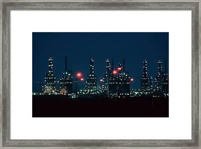 Night View Of Ici Chemical Works Framed Print by Martin Bond/science Photo Library