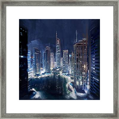 Night View Of Jlt Dubai Framed Print