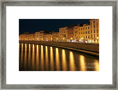 Night View Of River Arno Bank In Pisa Framed Print by Kiril Stanchev