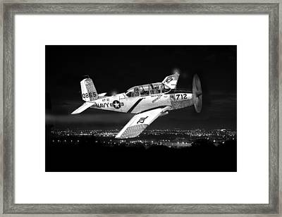 Night Vision Beechcraft T-34 Mentor Military Training Airplane Framed Print
