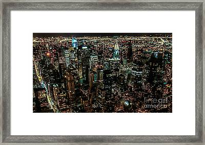 Night View From Empire State Building Framed Print by Kim Lessel