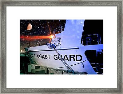 Framed Print featuring the photograph Night Watch Us Coast Guard by Aaron Berg