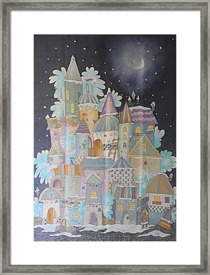 Night Winter City Framed Print