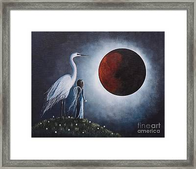 Night With The Great Egret By Shawna Erback Framed Print by Shawna Erback