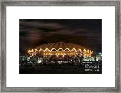 Framed Print featuring the photograph night WVU basketball Coliseum arena in by Dan Friend